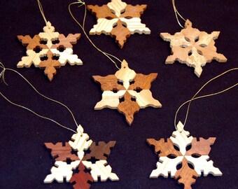 Wooden Snowflake Ornaments, Set A