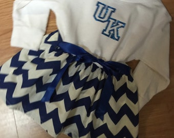 Handmade UK Tee shirt  dress girls blue an white