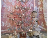Gorgeous vintage rare silver tinsel small Christmas tree with mercury glass baubles~ perfect vintage display