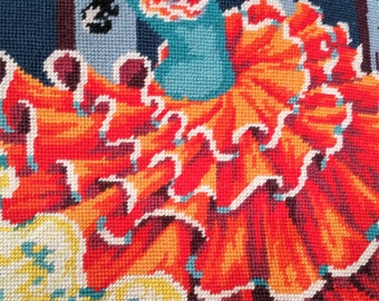 Hand made vintage wool tapestry Spanish dancer