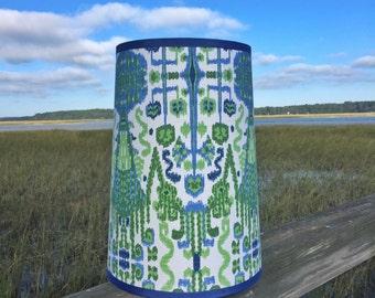 Modified Custom Drum Lamp Shade in Colorful Ikat Fabric