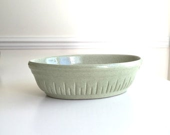 Vintage Mountainside Pottery Oval Bowl Planter Green Glaze MCM Earthy Rare