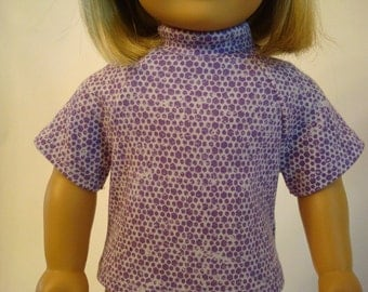 Purple Knit Top for American Girl Doll and 18-inch Dolls – Purple and White Turtleneck Shirt