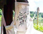 Olive branch apron, hand painted apron, Lace cotton apron, Cotton gray apron, Unique Apron, olive apron, designed apron, made in Croatia