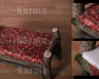 DELUX Real Wood Unique Newborn Baby / Doll Log Bed Photo Photography Prop with Matress and fuzzy cover