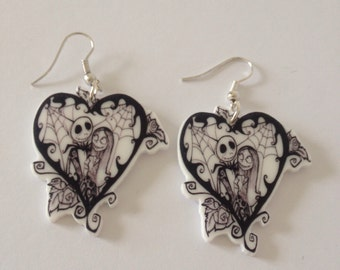 Nightmare Before Christmas Jack and Sally Dangle Earrings, Tim Burton Inspired. Gothic Earrings