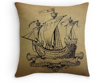 Nautical Cushions, Nautical Decor, Wooden Boat, Nautical Sailing Gifts, Sail Boat, Nautical Pillow, Ocean Decor, Vintage Boat, Sailboat