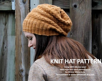 Knit hat pattern, PDF Instant Download Knitting Pattern, knit winter hat, knit in many colors, easy to follow pattern, knitting pattern 2344