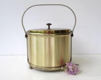 Mid Century Barware - Brass Ice Bucket - Hollywood Regency Elegance - Pyrex Liner -