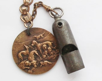 1930s Vintage French Dog Medal & Whistle on a Chain