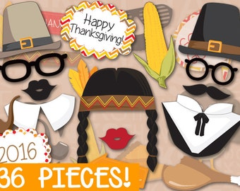 Thanksgiving Photobooth Props MEGA PACK - PRINTABLE - 36 piece - Instant Download, Print, Party - Holiday Photo booth Paper Props Diy