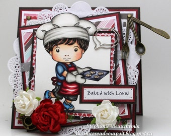 Boy cooking with apron card