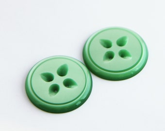 2 Large green buttons, 1960s vintage moonglow plastic buttons, unused