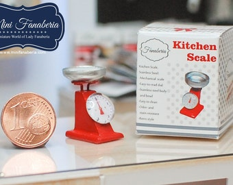 Miniature Kitchen Scale (various colors) - handmade Dollhouse 1:12 scale appliance