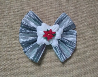Christmas Hairbow, Poinsettia Hairbow, Girls Christmas Bow, Girls Hair Accessory, Holiday Hairbow, Gray Christmas Bow, Girls Hairbow