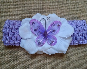Butterfly Headband, Flower Headband, Baby Headband, Purple Headband, Baby Hair Accessory, Newborn Headband, Baby Girls Headband