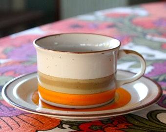Vintage, 1970s RetroLarge Ceramic Soup Mug and Saucer Lunchmates Sunset Cultura Collection Midwinter Stonehenge Style