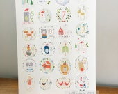 Digital Download A4 print Illustrated Christmas Advent by Sally Payne