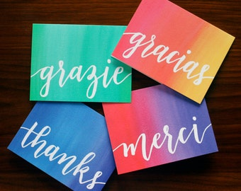 Multilingual Watercolor Thank You Cards - Hand Lettered Note Cards Set of 4 - Thanks, Gracias, Grazie, Merci