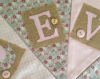 Personalised Bunting Pinks and Greens