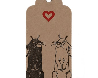 Handmade Rabbit Gift Tags, Perfect Gift Wrapping for your Boyfriend / Girlfriend!