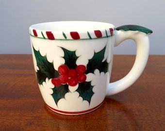 Vintage Lefton Holly and Candy Cane Mug, Lefton Christmas, Christmas Mug, Holiday Dinnerware