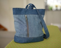 Denim bag «Stockholm», recykled denim handbag, casual bag, jeans bag, shoulder bag, handmade bag