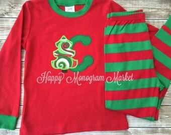 Christmas Tree appliqué monogramed Pajamas Family Christmas Pajamas holiday pj santa pictures christmas card picture matching family
