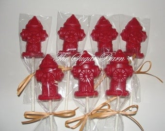 FIRE HYDRANT Chocolate Lollipops*12 Count*Firefighter*Fireman*Birthday Party Favors*Retirement*Rescue*Fundraiser*Emergency*Fire Plug