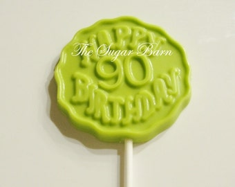 90th BIRTHDAY CHOCOLATE Lollipops*12 Count*90 Years*90 Party Favors*Surprise Birthday Party Favor*Number 90*Chocolate Favor*Birthday Gift