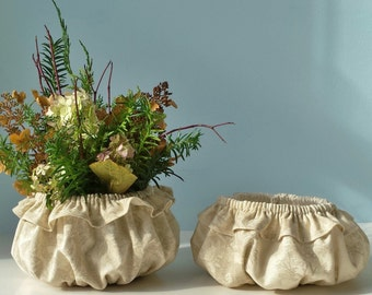Decorative Linen Pot Holders Plant Pot Sleeves Holiday Centerpiece Pot Cozy Set of Two (2)