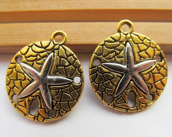 20mmx23mm Heavy Antique silver tone/Antique Golden Filigree Starfish Sand Dollar Pendant Charm/Finding,DIY Accessory Jewellry Making