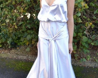 Ready-to-Wear 'Lana' vintage inspired reproduction wedding dress.  Plunging blouson spaghetti straps tie front long gown. Choice of color!