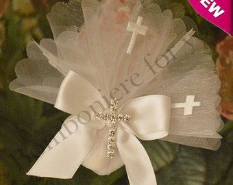 First Holy Communion Baptism favors Confirmation favor bag almond favor with cross Bomboniere Made in Italy