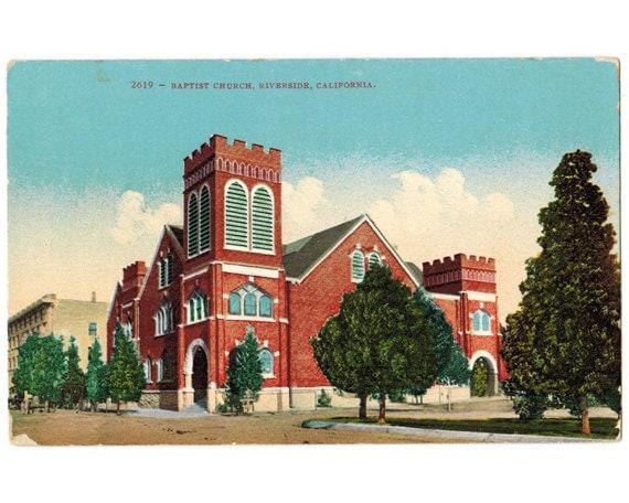 riverside california antique postcard baptist church