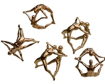 "3D Printed Pendant Necklace ""Joy"" Human Figures Joy Acrobat 3D Printed Jewelry"
