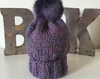 Purple Multi Wooly Hat w. Faux Fur POM POM