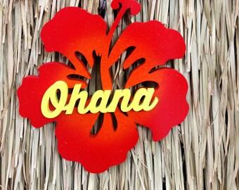 Ohana Hibiscus Wood Sign