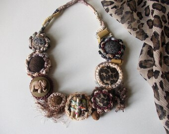 Savanna...Charm of Exotic Places..Crochet African bib necklace..Handmaded Buttons...Small Elephant...Tribal necklace...Gift for Her.