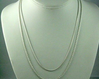 Sterling Chains, Sterling Silver 925, Chain for Pendants, Snake Chain, Woven Chain, Flexible Chain, Adjustable Lengths, Silver Chain