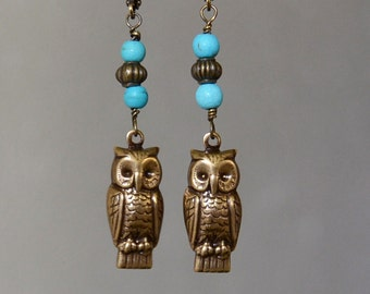 Owl and Turquoise Earrings, Owl Jewelry, Owl Charms, Wise Owl Vintage Bronze Antique Brass Owl Charm Earrings,  Leverback Turquoise Earrings