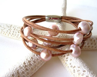 Pearl and Leather Wrap Bracelet - 8 Strand Bracelet - multi strand leather bracelet - pearl bracelet - leather and pearl jewelry