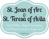 St. Joan of Arc & St. Teresa of Avila  / PDF Instant Download Pattern / Hand Embroidered Saint Dolls