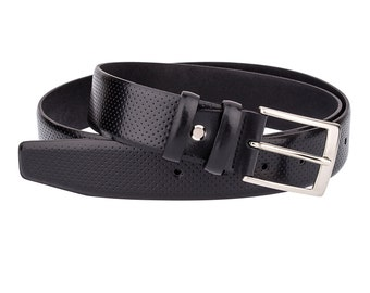 """Perforated Golf belts for Men Black leather belt Genuine Italian leather 32""""- 42"""""""