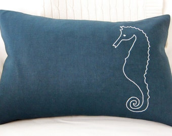 Hand-Embroidered White Seahorse on Navy Blue Linen/Cotton Blend Fabric Lumbar Pillow Cover - 12 x 18 Inches