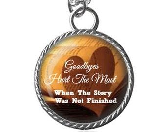 Goodbye Necklace, Story Necklace, Missing You Image Pendant Key Chain Handmade