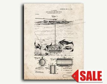 Patent Art - Bait-holder and Fish-decoy Patent Wall Art Print
