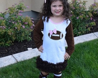 Infant Toddler Girls Football Inspired Ruffle Boutique Dress