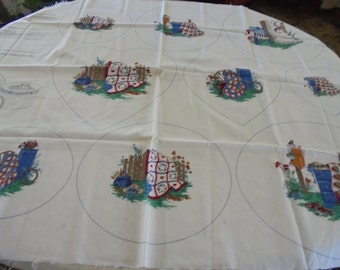 VINTAGE  Country Fair fabric panels hearts quilts hat basket fence with instructions