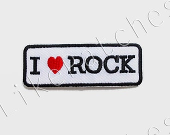 I Love Rock - Red Heart - White Banner New Sew / Iron On Patch Embroidered Applique Size 7.4cm.x2.6cm.